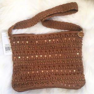 THE SAK Brown Crochet Beaded Hobo Bag-NWT
